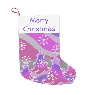 冬の木の紫色のメリークリスマスのストッキング スモールクリスマスストッキング