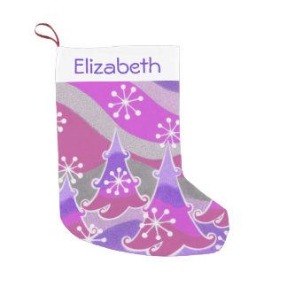 冬の木の紫色の一流のストッキング スモールクリスマスストッキング