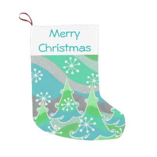 冬の木の緑のメリークリスマスのストッキング スモールクリスマスストッキング
