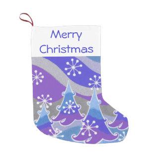 冬の木の青いメリークリスマスのストッキング スモールクリスマスストッキング