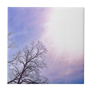 冬の木及び冷たい日曜日の季節的な自然の芸術 タイル