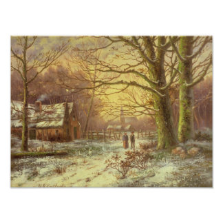冬の村の前の道の姿 ポスター