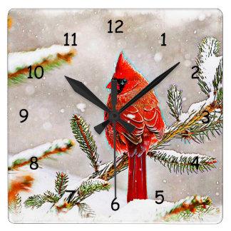 冬の松の木の(鳥)ショウジョウコウカンチョウ スクエア壁時計
