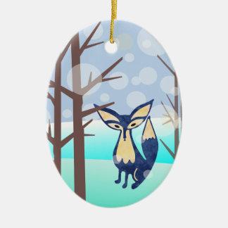 冬の森の陶磁器のオーナメントの青キツネ セラミックオーナメント