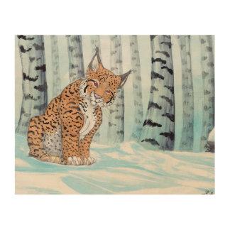 冬の森林のかわいいオオヤマネコ ウッドウォールアート