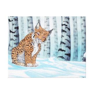 冬の森林のかわいいオオヤマネコ キャンバスプリント