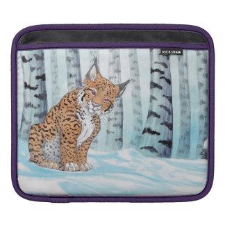 冬の森林のかわいいオオヤマネコ iPadスリーブ