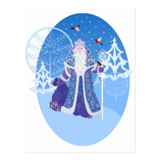 冬の森林ロシアのなスタイルのDedモロスおよび鳥 ポストカード