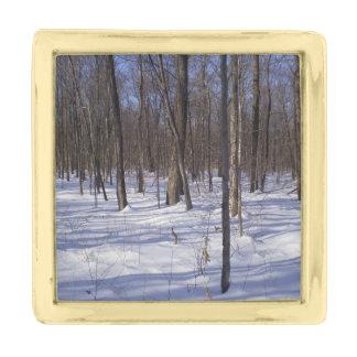 冬の森林 ゴールド ラペルピン