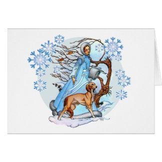 冬の歩行の挨拶状 カード