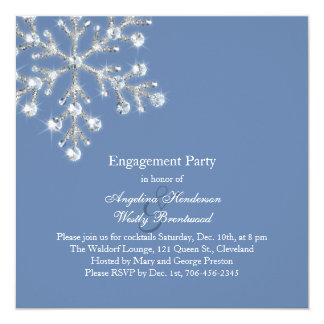 冬の水晶雪片の婚約パーティの招待 カード
