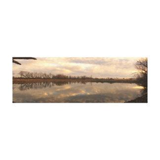 冬の池-デジタル油絵 キャンバスプリント