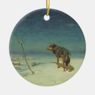 冬の油絵のアルフレッドKowalskiの一匹狼 セラミックオーナメント
