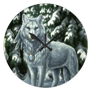 冬の白いオオカミの柱時計 ラージ壁時計