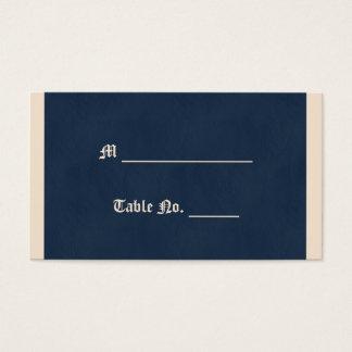 冬の白および濃紺の結婚式の座席表 名刺