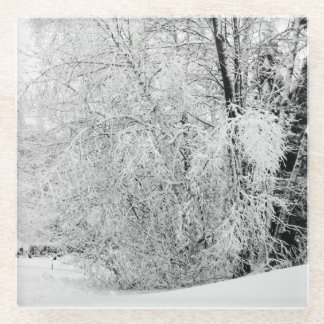冬の白 ガラスコースター