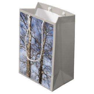 冬の空のプラタナスの木 --- ミディアムペーパーバッグ