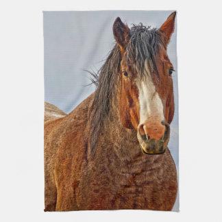 冬の端の馬の台所タオル キッチンタオル