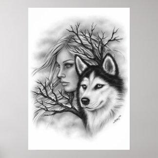 冬の精神のオオカミのハスキーな女の子ポスター ポスター