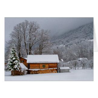 冬の納屋の休日カード カード