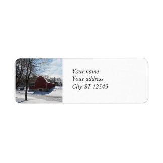 冬の納屋の宛名ラベル ラベル