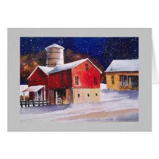 冬の納屋田園アメリカ カード