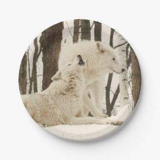 冬の紙皿の北極オオカミ ペーパープレート
