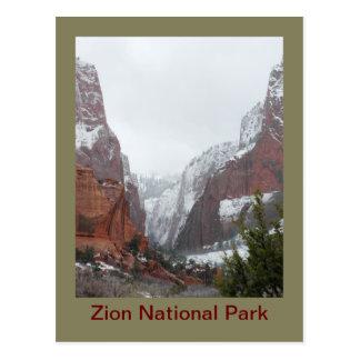 冬の終わりの嵐の後のKolob渓谷 ポストカード