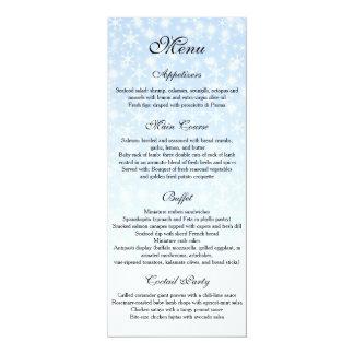 冬の結婚式メニュー、雪片の結婚式メニュー 10.2 X 23.5 インビテーションカード