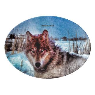 冬の絵画の黄色い目を持つ紫色のオオカミ 磁器大皿