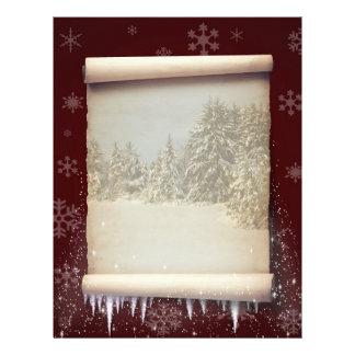 冬の羊皮紙のイラストレーション-文房具 レターヘッド