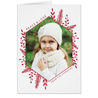 冬の群葉の写真の休日の挨拶状 グリーティングカード