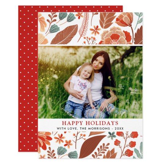冬の群葉の花の幸せな休日の家族写真 12.7 X 17.8 インビテーションカード