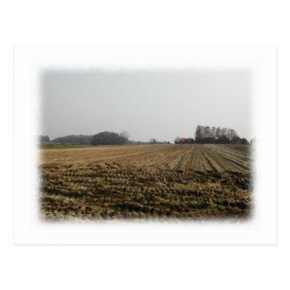 冬の耕された分野。 景色 ポストカード