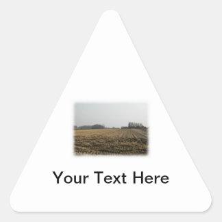 冬の耕された分野。 景色 三角形シール