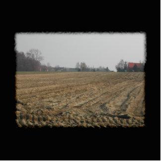 冬の耕された分野。 景色 写真彫刻キーホルダー
