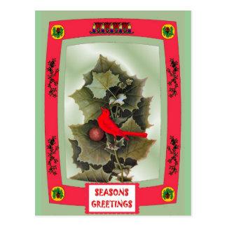 冬の葉およびヤマウズラ ポストカード