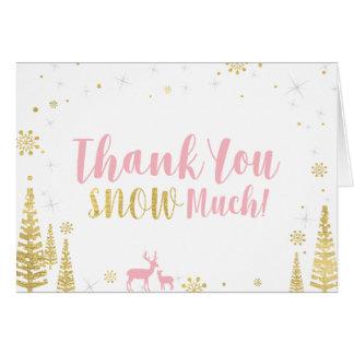 冬の誕生日のサンキューカード-ピンク及び金ゴールド カード