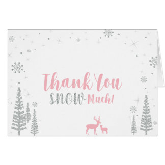 冬の誕生日のサンキューカード-ピンク及び銀 カード