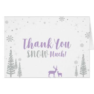 冬の誕生日のサンキューカード-紫色及び銀 カード