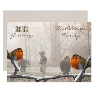 冬の赤いロビン休日の写真カード カード