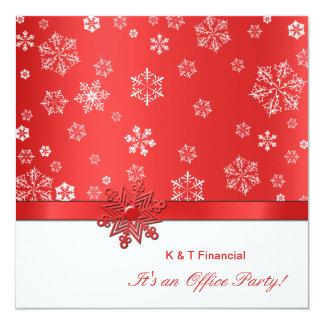 冬の赤く及び白い雪片の社内パーティー カード