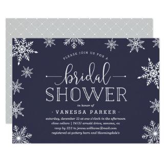 冬の降雪のブライダルシャワーの招待状 カード