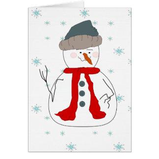 冬の雪だるまの降雪のお洒落で初期のな芸術 カード