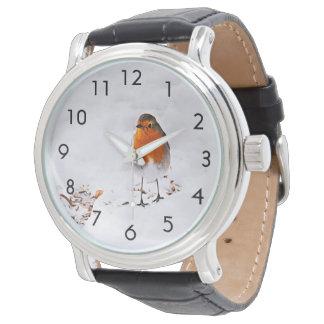 冬の雪のロビンのカスタムでかわいい鳥 腕時計
