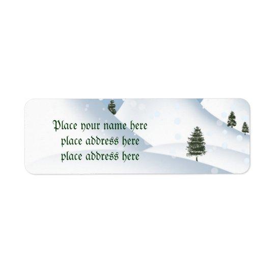 冬の雪の住所シール ラベル