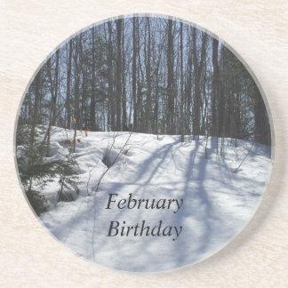 冬の雪の場面2月の誕生日 コースター