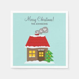 冬の雪の小屋のティール(緑がかった色)のクリスマスのカスタムの休日 スタンダードカクテルナプキン
