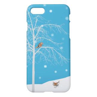 冬の雪の鳥の木の電話箱 iPhone 8/7 ケース