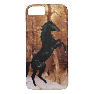 冬の雪のfriesianの馬 iPhone 8/7ケース